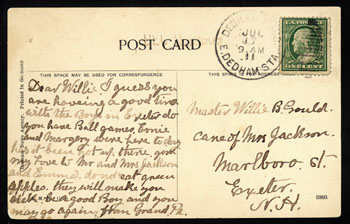 post card front back